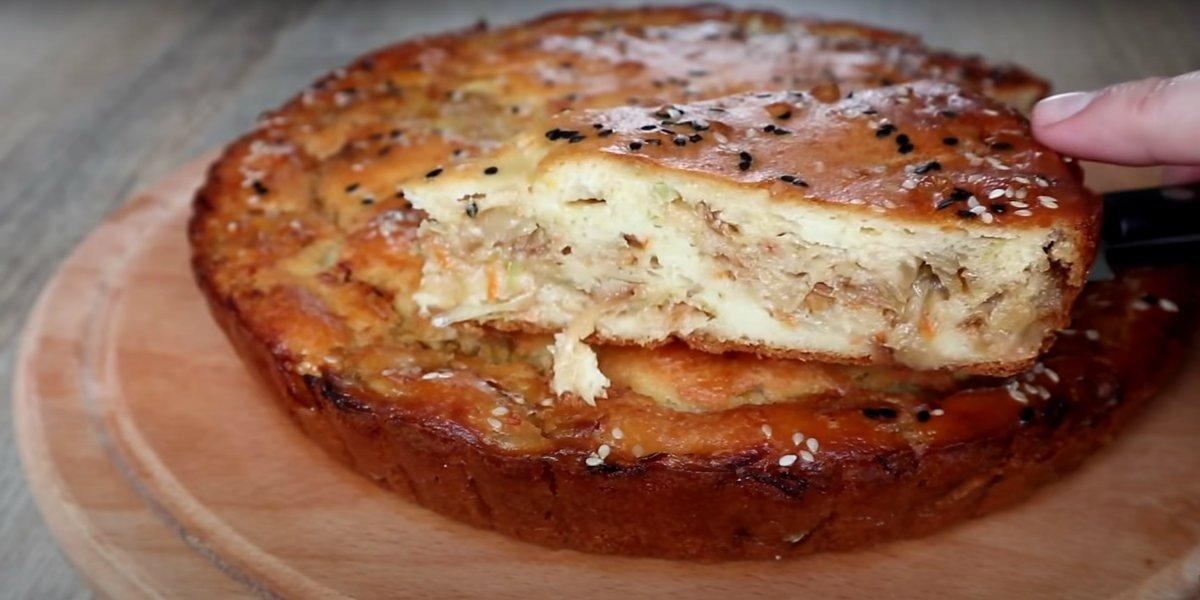 заливной пирог с капусной