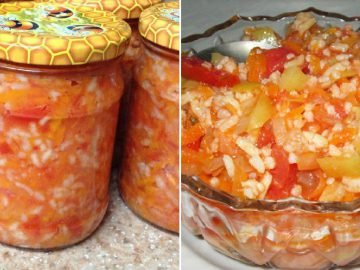 Рисовый салат на зиму