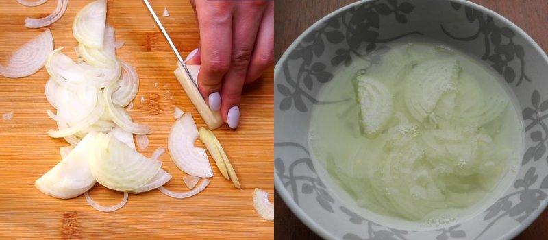 подготовка лука для закуски