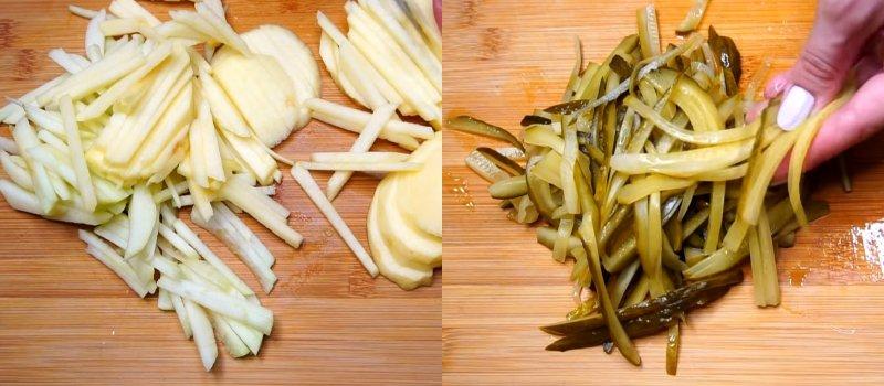 нарезанные яблоки и огурцы