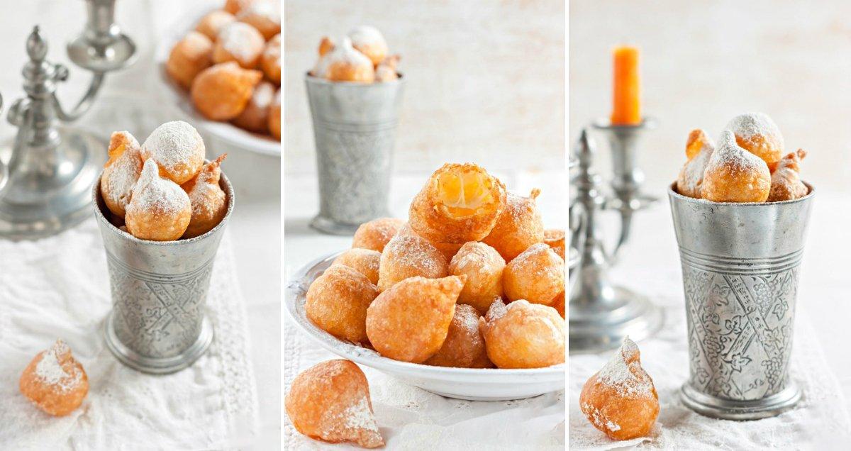 готовые заварные пончики с сахарной пудрой